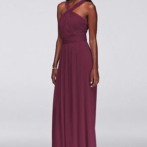 David's Bridal Maroon Long Formal Dress